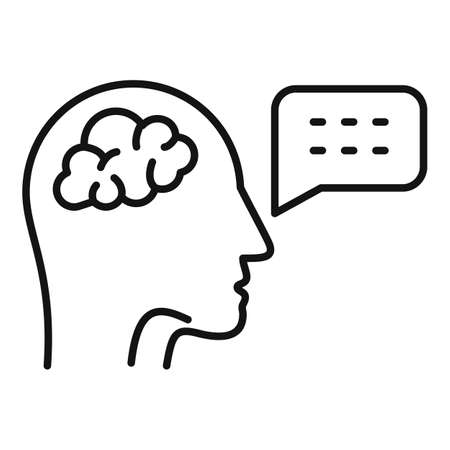Brain speech therapist icon, outline style