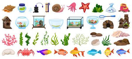 Aquarium icons set, cartoon style