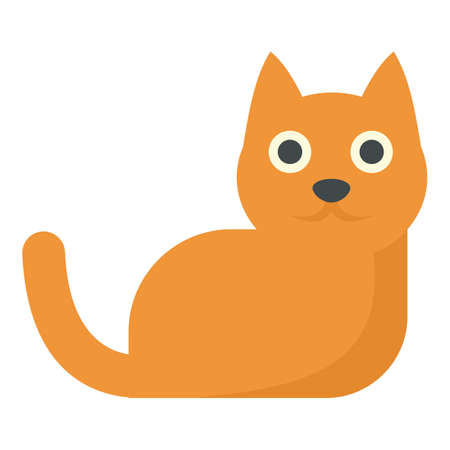 Red hair cat icon, flat style