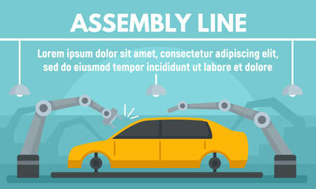 Car assembly line concept banner, flat style