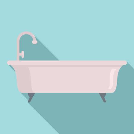 Bathtub icon, flat style Foto de archivo