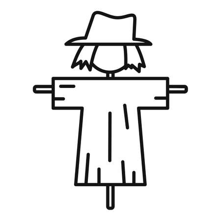 Cute scarecrow icon, outline style
