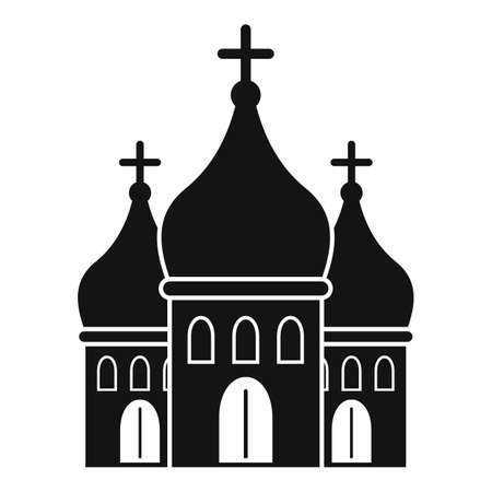 Modern city church icon, simple style