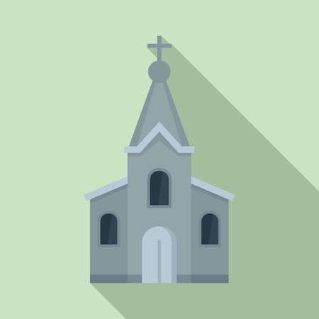 Stone church icon, flat style