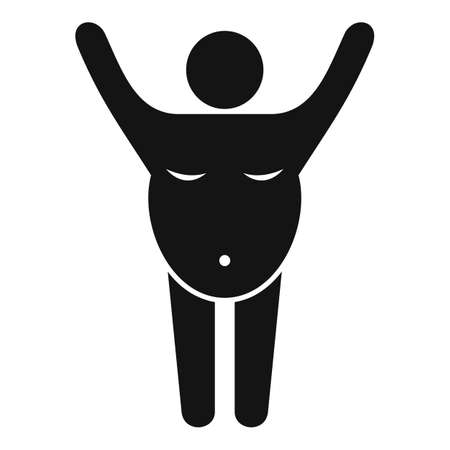 Exercise overweight man icon, simple style