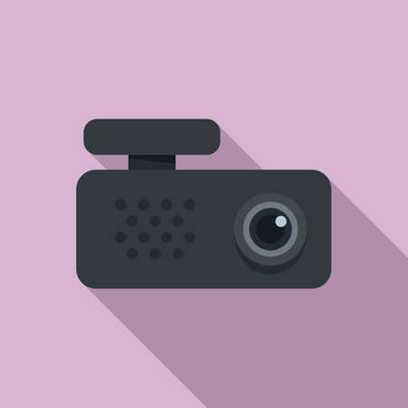 Car dvr recorder icon, flat style
