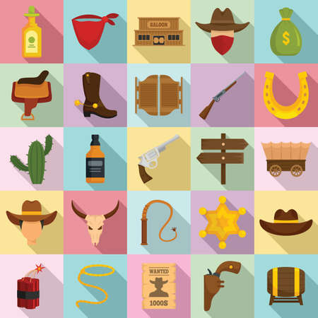 Cowboy icons set, flat style Stock Photo