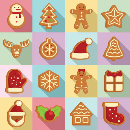 Gingerbread icons set, flat style
