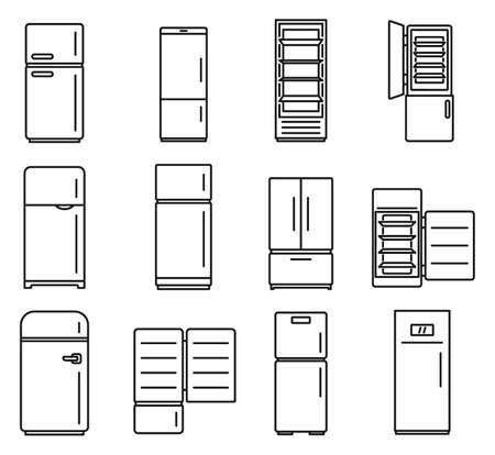Modern fridge icons set, outline style