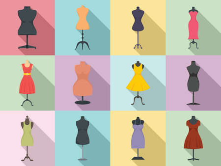 Mannequin icons set, flat style
