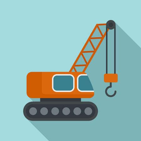 Excavator construction crane icon, flat style