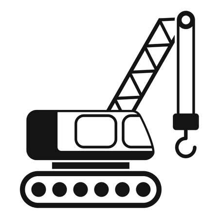 Excavator construction crane icon, simple style