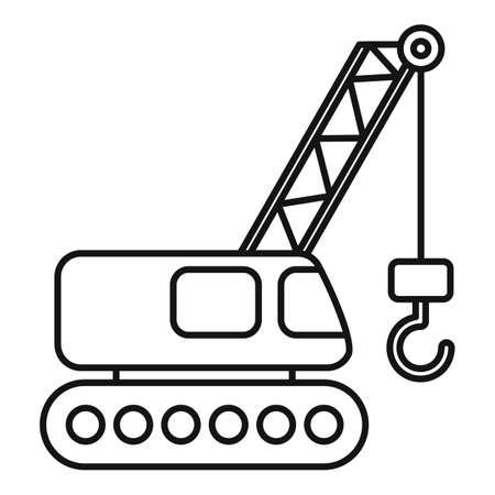 Excavator construction crane icon, outline style