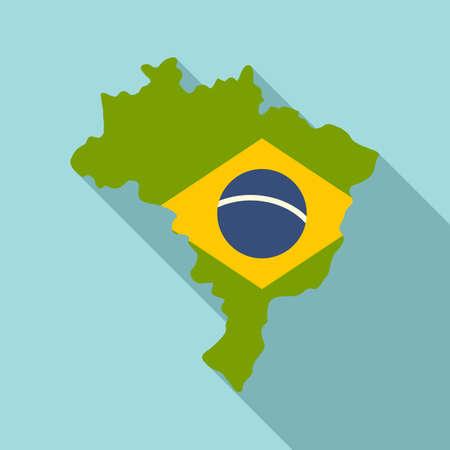 Brazil land icon, flat style