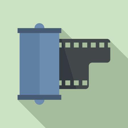 Negative film camera icon, flat style