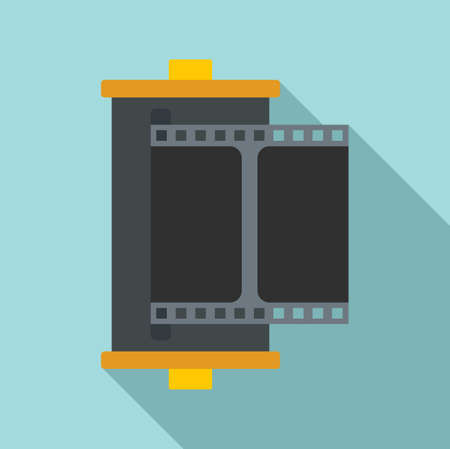 Color camera film icon, flat style