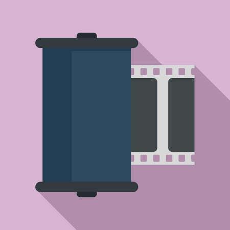 Retro camera film icon, flat style Stock fotó