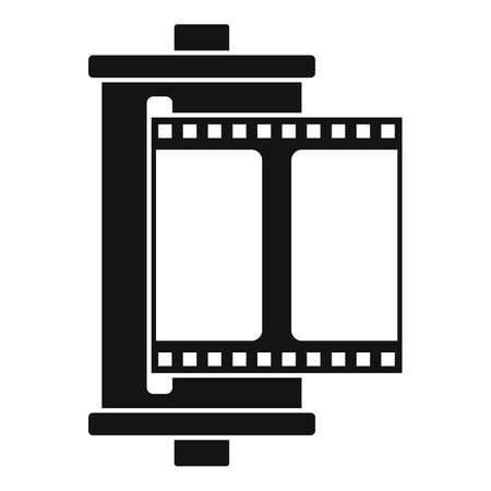 Color camera film icon, simple style
