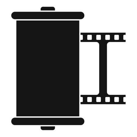 Retro camera film icon, simple style