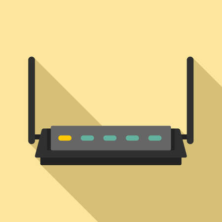 Firewall router icon, flat style