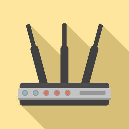 Router hub icon, flat style