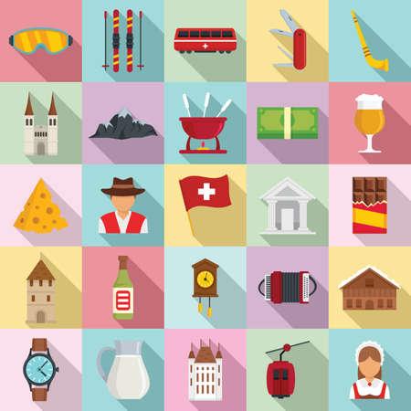 Swiss icons set, flat style