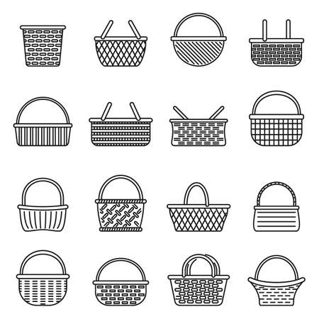 Picnic wicker icons set, outline style
