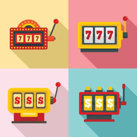 Slot machine icons set, flat style Фото со стока