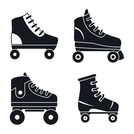 Roller skates icons set, simple style