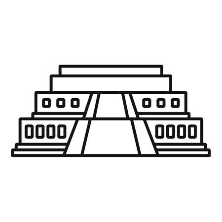 Big egypt temple icon, outline style