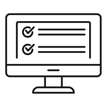 Computer monitor icon, outline style