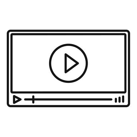 Video player icon, outline style