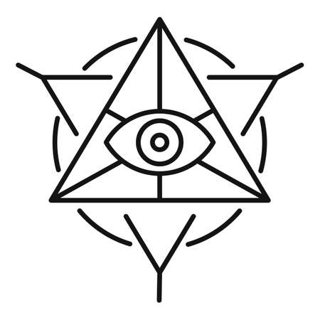 Alchemy pyramid icon, outline style