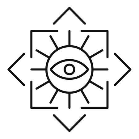 Alchemy eye square icon, outline style
