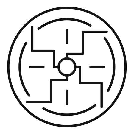 Negative spiral sign icon, outline style