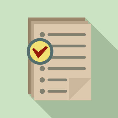 Approved inventory papers icon, flat style