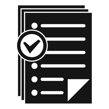 Approved inventory papers icon, simple style Imagens