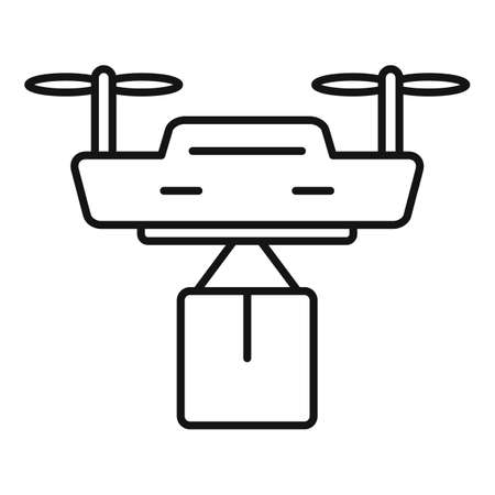 City drone delivery icon, outline style Stock Photo
