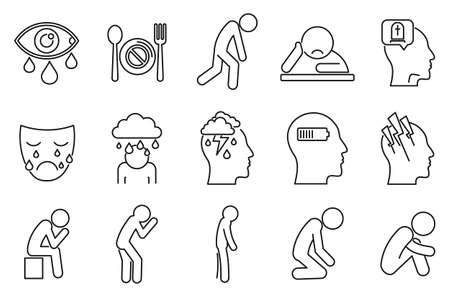 Modern depression icon set, outline style