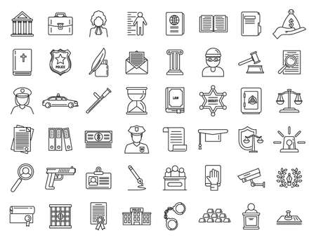 Justice legal icons set, outline style Banque d'images