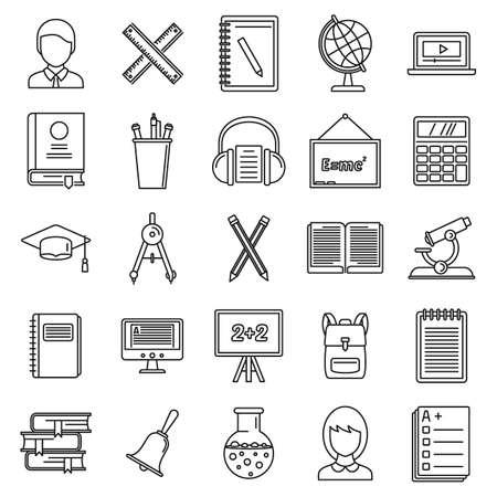 Lesson teacher icons set, outline style 版權商用圖片