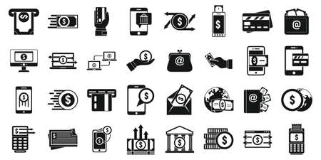 Fast money transfer icons set, simple style Stok Fotoğraf