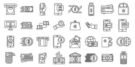 Cash money transfer icons set, outline style