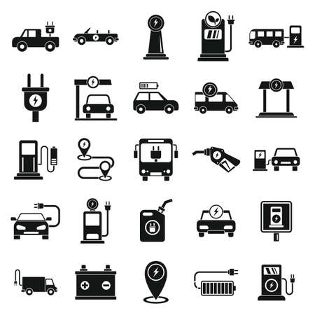 Electrical refueling icons set, simple style