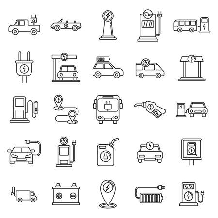 Electrical refueling car icons set, outline style