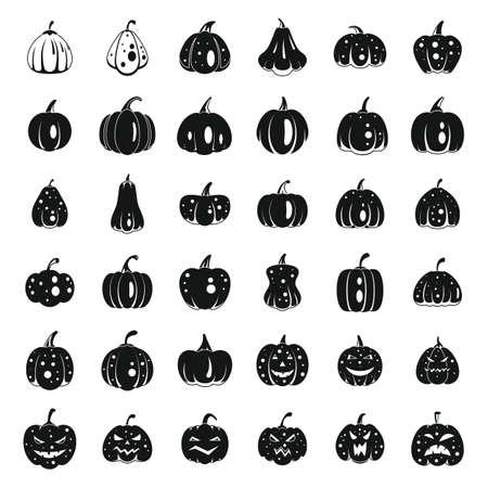 Farm pumpkin icons set, simple style