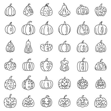 Garden pumpkin icons set, outline style 免版税图像