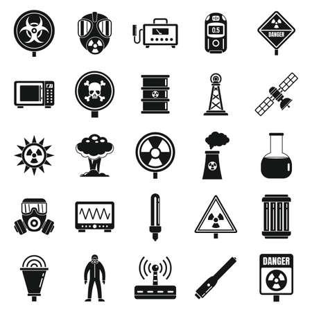 Radiation hazard icons set, simple style
