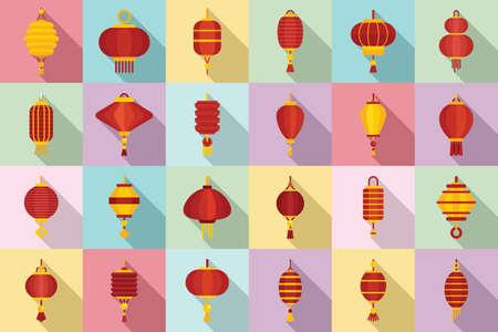 Chinese lantern icons set, flat style