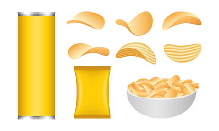 Chips potato icons set, realistic style
